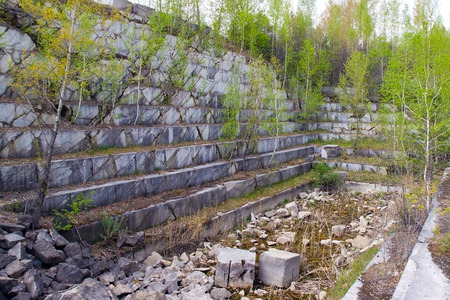 Abandoned marble quarry in Russia Stock Photo