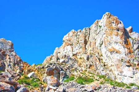 Peak rock landscape with blue cloudless sky