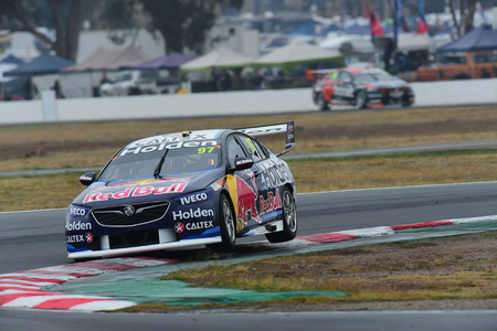 Virgin Australia Supercars Championship 2018 Round 14 Winton Supersprint. Shane van Gisbergen of the Red Bull Holden Racing Team lifts the wheels of his Holden Commodore ZB as he takes turn 1 at Winton Motor Raceway during qualifying for race 13. Editorial