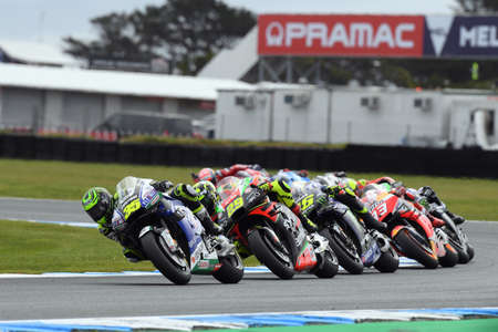 Briton Cal Crutchlow leads the pack duiring the opening laps of the Australian MotoGP, Phillip Island, Melbourne, Australia