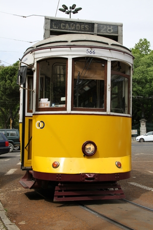 electric tram: Old yellow tram