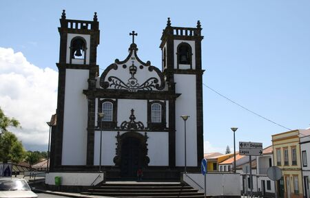 steeples: Church with two steeples in the Azores