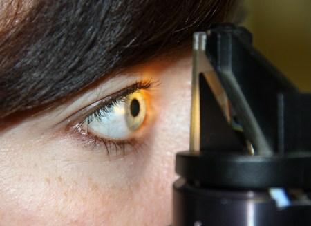 cornea: Eye examination with a microscope at the optician