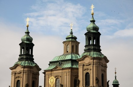 steeples: Steeples in Baroque style in Pragues Old Town