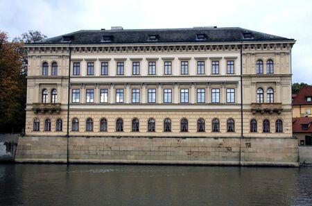 vltava: Building on the Vltava River in Prague Editorial