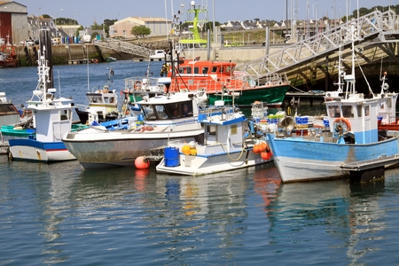 cosy: Cosy fishing port in the summer Brittany Stock Photo