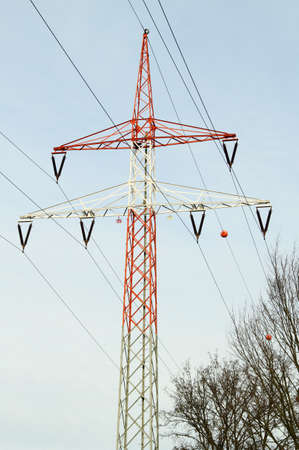 power pole: Power pole of steel with red paint