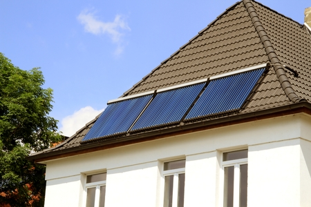 Solar Heated Water on a House Roof