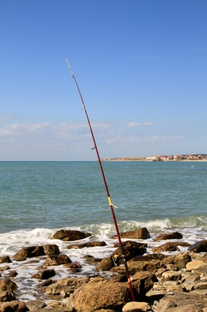 english channel: Surf fishing on the shores of the English Channel