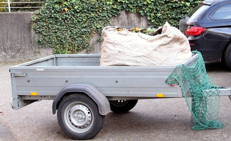 loaded: Car trailer small and loaded