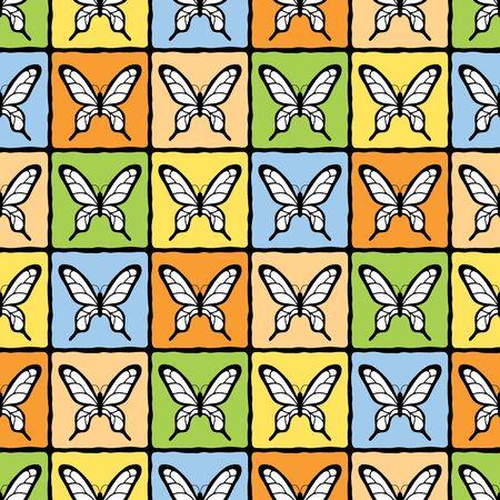 joyous: Feliz vector sin patr�n con mariposas y rejilla