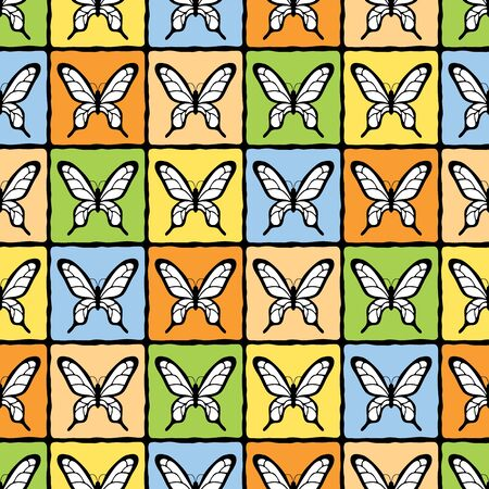 joyous: Joyous vector seamless pattern with butterflies and grid