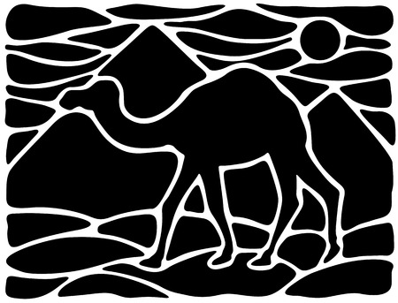 dromedary: Graphic silhouette of a dromedary with pyramids on the background