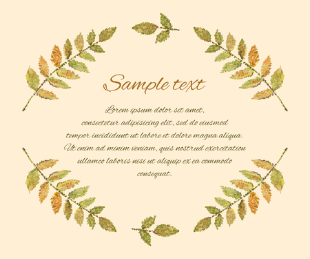 broun: Hand-drawn watercolor design elements. Elegant frame with leaves in vintage style. Vector illustration.