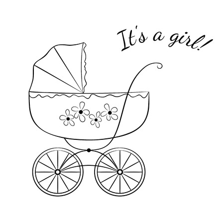 baby announcement card: Sketch-like image of a retro baby carriage, variant for a girl. Baby arrival announcement card design.