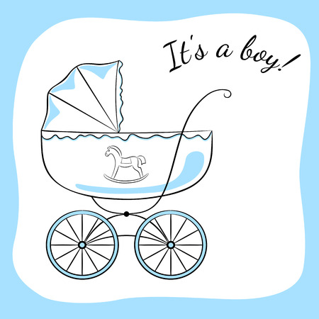 baby announcement card: Retro baby carriage. Sketch-like image with color accents, variant for a boy. Baby arrival announcement card design.