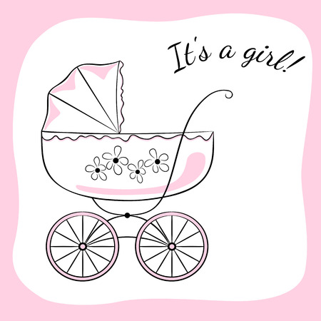 accents: Retro baby carriage. Sketch-like image with color accents, variant for a girl. Baby arrival announcement card design.