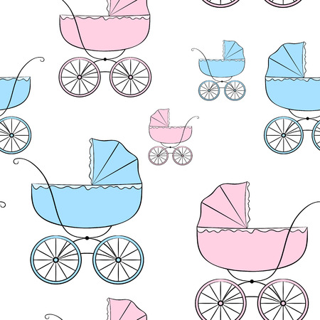 Nice seamless vector pattern with retro baby carriages of different sizes Vector