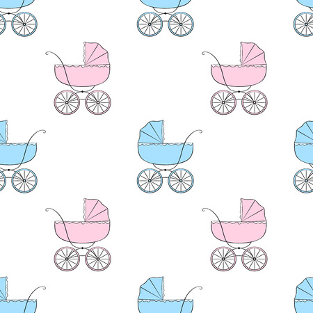 Nice seamless vector pattern with retro baby carriages Vector