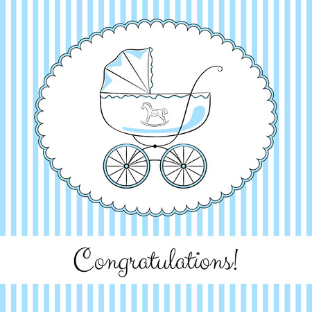 accents: Retro baby carriage in frame on the striped background. Elegant sketch-like image with color accents. Congratulations card design, variant for a boy.