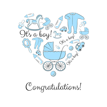 babygro: A set of items for newborn grouped in a heart shape, variant for a boy. Baby shower or congratulations card design elements. Illustration