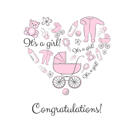 babygro: A set of items for newborn grouped in a heart shape, variant for a girl. Baby shower or congratulations card design elements.