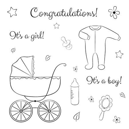 Un Conjunto De Artículos Para Recién Nacido: Carro De Bebé, Ropa ...