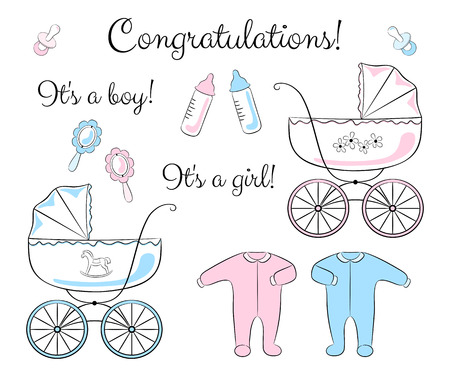 A set of items for newborn: baby carriage, clothing, rattle, soother and feeding bottle. Variations for a boy and for a girl. Baby shower or congratulations card design elements.