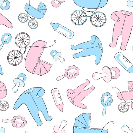 nursing clothes: Seamless vector pattern with newborn accessories: clothing, baby carriages, soothers, rattles and feeding bottles.