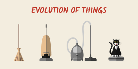 electric broom: Evolution of cleaning devices: a broom, a retro vacuum cleaner, a modern vacuum cleaner and a robotic vacuum cleaner with a cat sitting on it. Set of modern flat style icons  Illustration