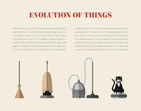 Evolution des dispositifs de nettoyage: un balai, un aspirateur rétro, un aspirateur moderne et d'un robot aspirateur avec un chat assis sur elle. Modèle de page avec des icônes de style plat modernes