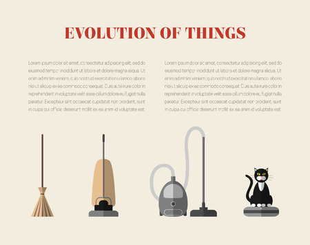 Evolution of cleaning devices: a broom, a retro vacuum cleaner, a modern vacuum cleaner and a robotic vacuum cleaner with a cat sitting on it. Page template with modern flat style icons