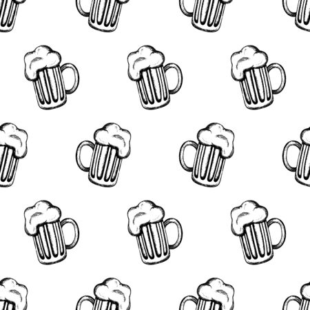 tankard: Vector seamless pattern with hand-drawn mugs of beer. Traditional Oktoberfest drink isolated on white. Oktoberfest celebration design.