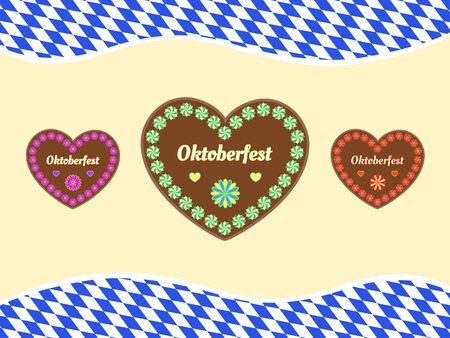 Oktoberfest celebration background with traditional gingerbread cookie hearts and Bavarian flag.  イラスト・ベクター素材