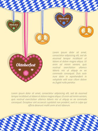 Oktoberfest background with hanging gingerbread cookie hearts, pretzels and Bavarian flag. Vectores