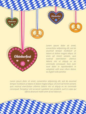 Oktoberfest background with hanging gingerbread cookie hearts, pretzels and Bavarian flag. Illustration