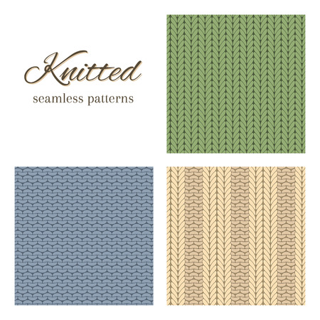 knitted fabrics: Set of vector seamless patterns imitating basic knitted fabrics