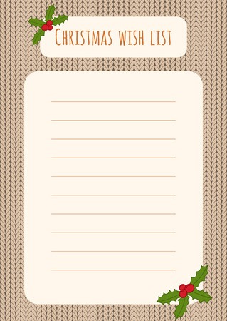 wish list: Christmas wish list design template over a knitted background with holly decorations. Illustration