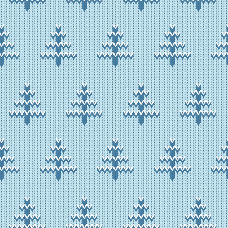 trees seasonal: Cozy knitted seamless background with fir trees. Seasonal winter design.