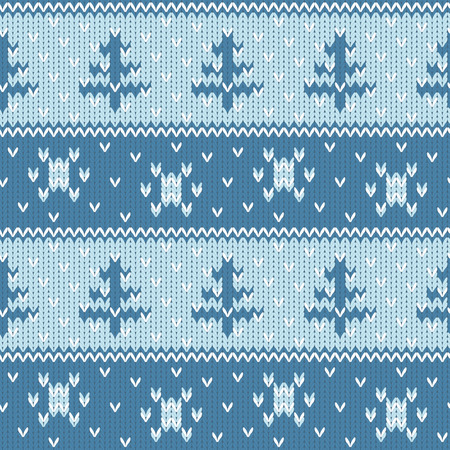 seasonal: Cozy knitted seamless background with fir trees and snowflakes. Seasonal winter design. Illustration