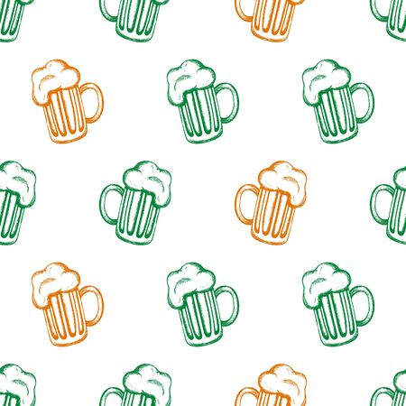 irish pub label: Vector seamless pattern with hand-drawn mugs of beer in the colours of the national flag of Ireland. Traditional drink for the Feast of St. Patrick. St. Patricks Day celebration design.