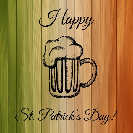 feast day: Illustration of a mug of beer on wooden background tinted with the colours of the national flag of Ireland. Traditional drink for the Feast of St. Patrick. St. Patricks Day celebration design Illustration