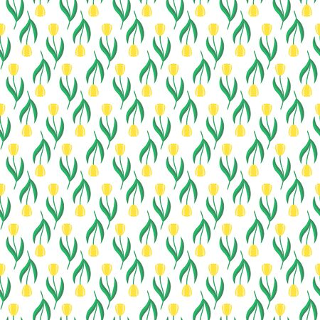 repetition row: Bright seamless pattern with yellow tulips. Spring or summer background, floral design. Illustration