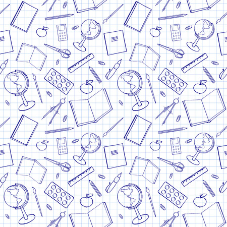 swatch book: Seamless pattern with school-related items. Sketch-like illustration of books, pens and other objects for studies. Background imitating a sheet of paper from a copy-book. Already in swatches. Illustration