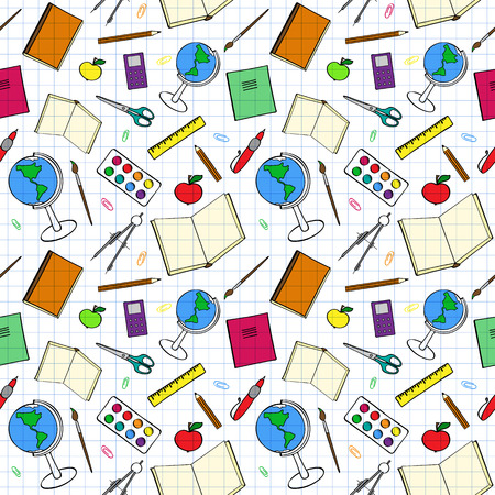 color swatch book: Seamless pattern with colourful school-related items. Sketch-like illustration of books, pens and other objects for studies. Background imitating a sheet of paper from a copy-book. Already in swatches.