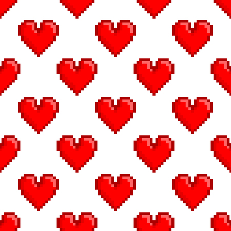 Seamless vector pattern with pixel hearts. St. Valentines Day or wedding background, 8-bit retro design.  Already in swatches. Illustration