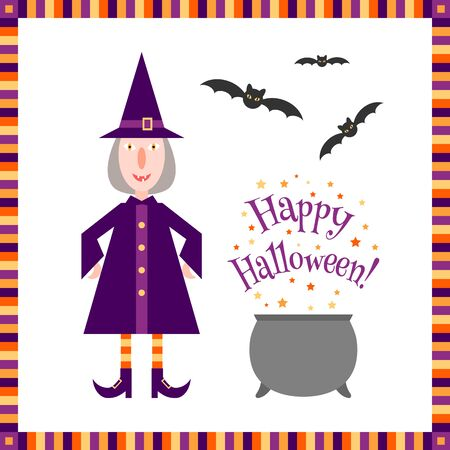 magic cauldron: Funny little witch near a magic cauldron with a Happy Halloween! greeting and flying bats over it. Colorful Halloween background in flat style.