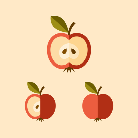 Three variants of a sliced apple icon, modern flat style.