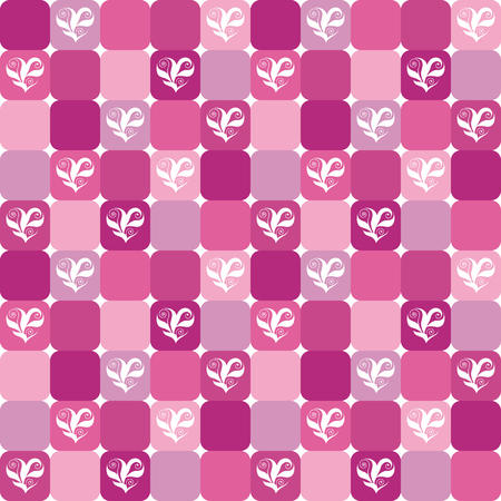 Elegant checked pattern with floral hearts over pink, magenta, and lilac tiles. Valentines Day or wedding design background. Already in swatches. Illustration