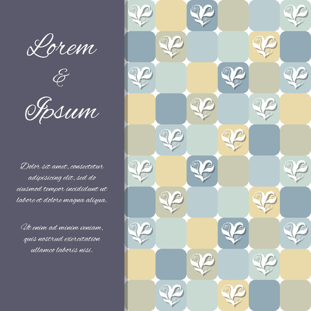 Flyer, invitation or greeting card design template with floral hearts over yellowish and grayish tiles. Valentines Day or wedding background. Pattern already in swatches.